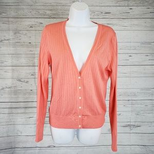Banana Republic Cardigan Sz Med Coral Button Front